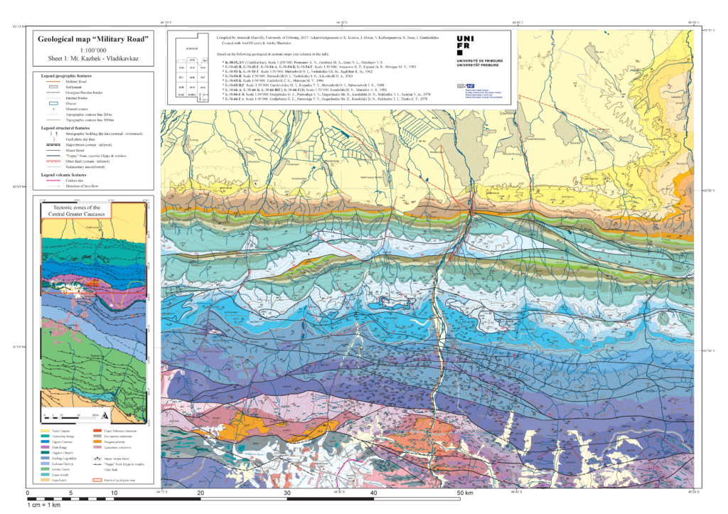 Geologic Map Of Georgia.Greater Caucasus Maps Tectonics